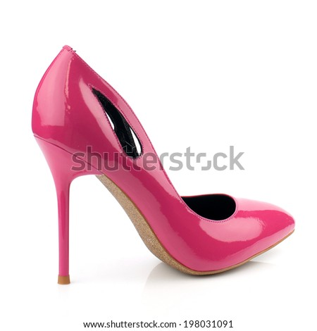 Crimson patent high heel women shoe isolated on white background.