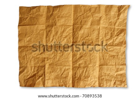 Crinkled, crease  brown paper texture - stock photo