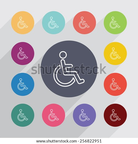 cripple outline circle, flat icons set. Round colorful buttons