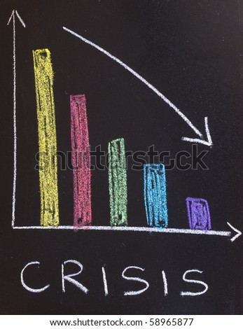 Crisis, business graph - stock photo