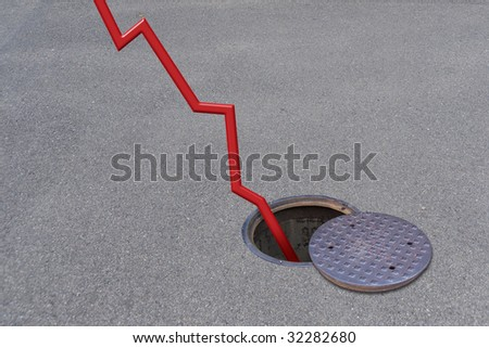 crisis: business graph and manhole - stock photo