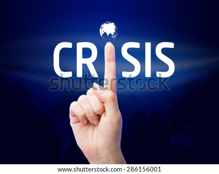 Crisis. Businessman shows on a virtual screen. Business, technology, internet and networking concept.