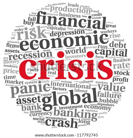 Crisis concept in tag cloud on white background - stock photo