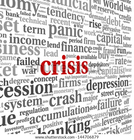 Crisis concept in word tag cloud on white background - stock photo