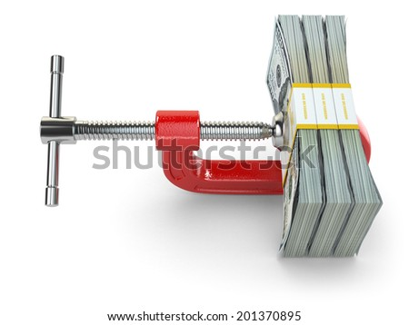 Crisis. concept of reducing costs. Vise and dollars. 3d - stock photo