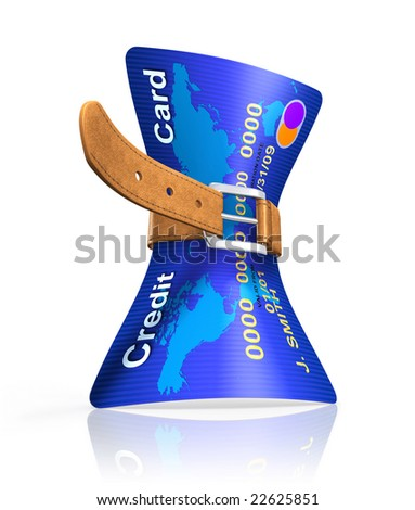 Crisis (3D concept with tighten belt and credit card) - stock photo