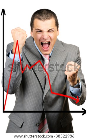 Crisis diagram character  focus on man isolated on white background - stock photo