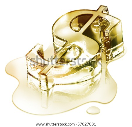 Crisis finance - the dollar symbol in melting gold - fusion