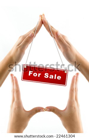 crisis hands on white background - stock photo