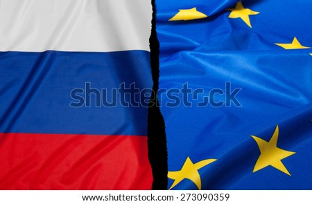 Crisis in Europe - Russian Flag and Flag of European Union - stock photo