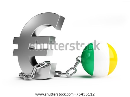 crisis in ireland on white background - stock photo