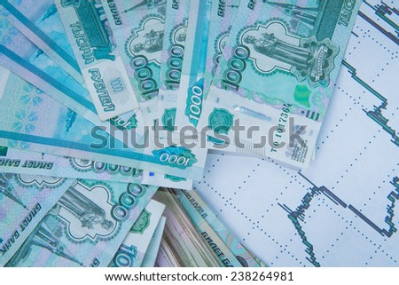 Crisis in Russia.  Russian Roubles course - stock photo