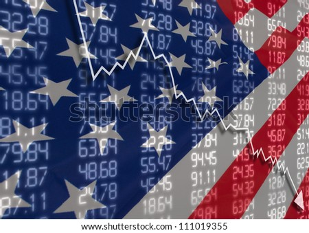 Crisis in USA - Shares Fall Graph on United States of America Flag - stock photo