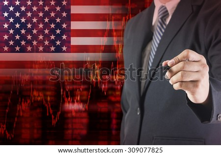 Crisis in USA - Shares Fall Graph on United States of America Flag with Businessman writing, drawing on the screen  - stock photo