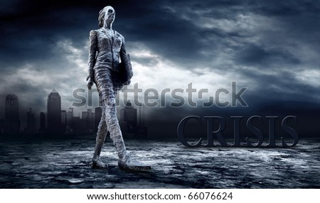 Crisis in world. Boy with laptop on dark sky with lightning - stock photo