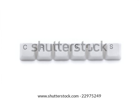 Crisis keys of computer keyboard isolated on white