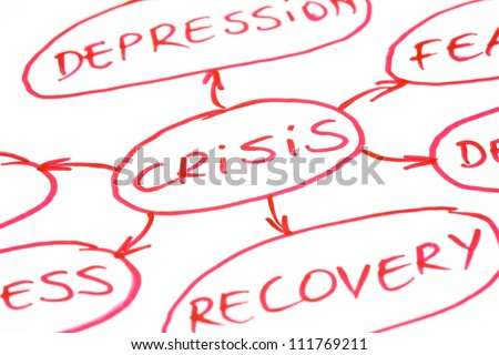 Crisis Management flow chart written with red pen on paper. - stock photo