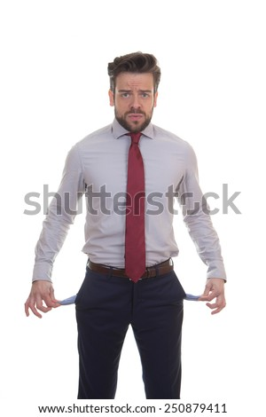 crisis, recession broke business man concept - stock photo