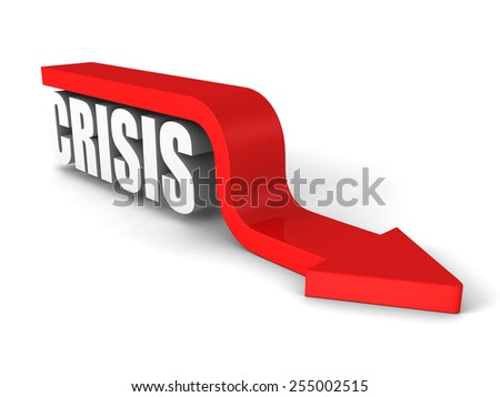CRISIS white word with red arrow down. Business concept 3d render illustration - stock photo