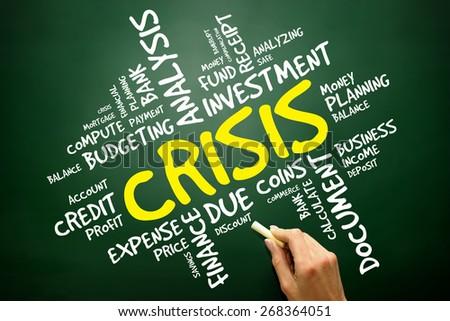 CRISIS word cloud, business concept - stock photo