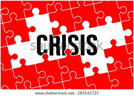 Crisis word concept on jigsaw puzzle - stock photo