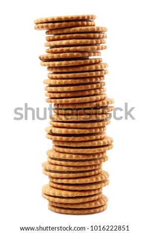 Crisp biscuits on white background