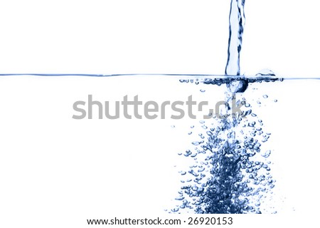 Crisp, clear, blue water photographed against a white background.
