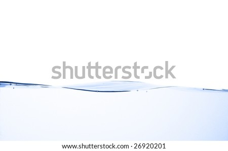 Crisp, clear, blue water photographed against a white background. - stock photo