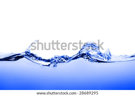 Crisp, clear, blue water photographed against white. - stock photo
