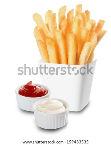 Crisp golden French Fries or fried potato chips served with individual containers of creamy mayonnaise and tomato ketchup on a white background - stock photo