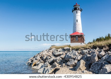 Crisp Point Lighthouse on the shores of Lake Superior in the Upper Peninsula of Michigan - stock photo