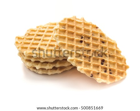 Crisp waffle on white background.