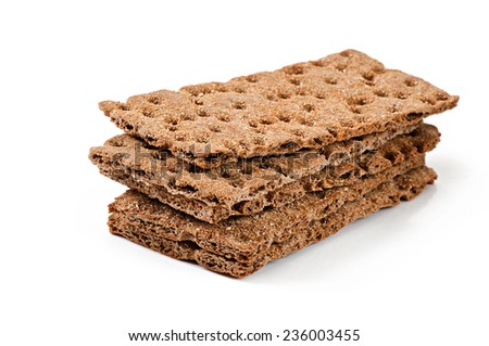 crispbread isolated on white background - stock photo