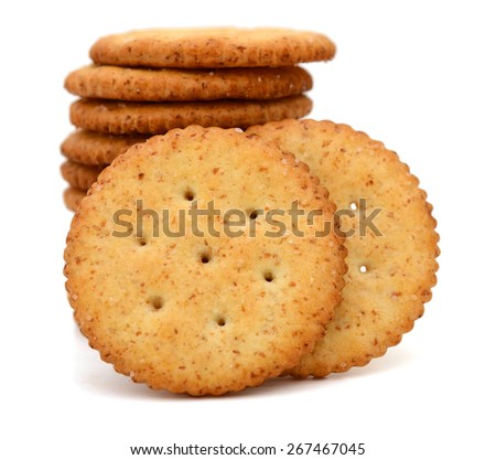 crispy biscuits on white background  - stock photo