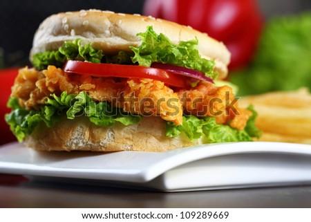 Crispy Chicken Burger - stock photo