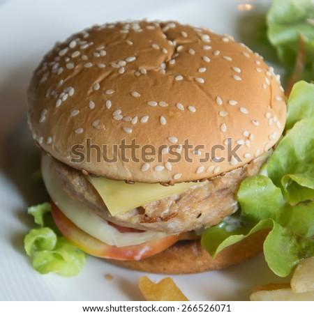 Crispy Chicken Burger on plate - stock photo