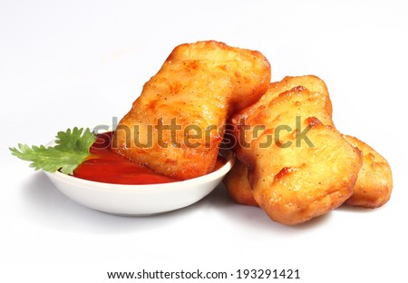 Crispy chicken nuggets isolated on white background - stock photo
