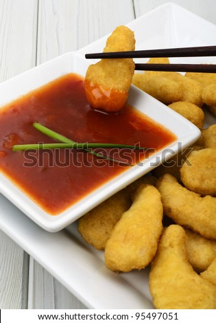 & Sweet and Sour Dip - Oriental crispy chicken with a sweet and sour ...