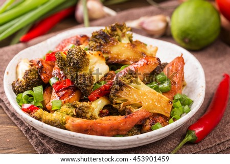 Crispy chilli chicken with brocolli on plate