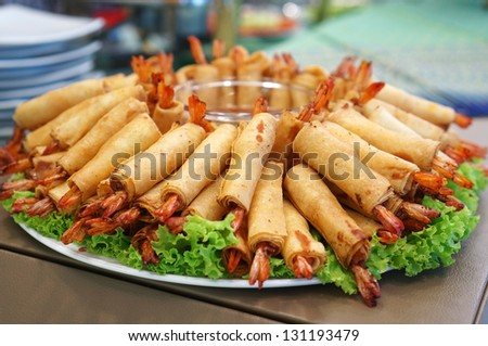 Crispy Chinese Traditional Shrimp Spring rolls food - stock photo