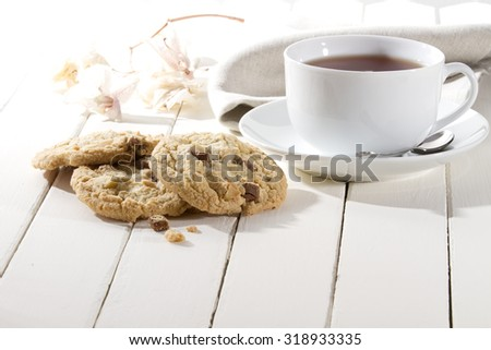 crispy cookies with chocolate and nuts - stock photo