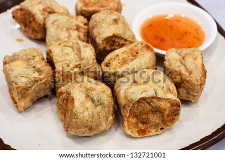 Crispy crab rolls with plum sauce, a chinese food