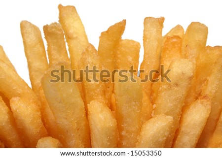Crispy crunchy french fries close-up on a white background - stock photo