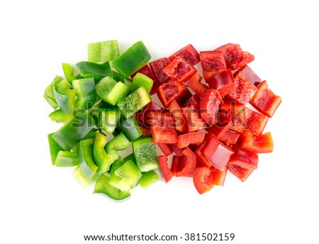 Crispy delicious green and red bell peppers - stock photo