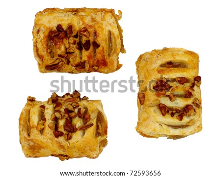 crispy flaky danish with fruit jam filling and mixed nuts topping