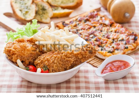 Crispy fried chicken in kitchen table