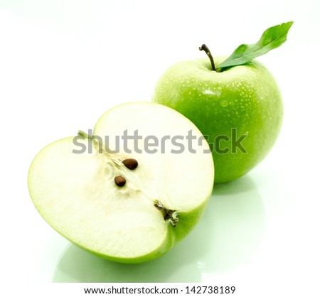 Crispy green apples from the garden isolated white background. - stock photo