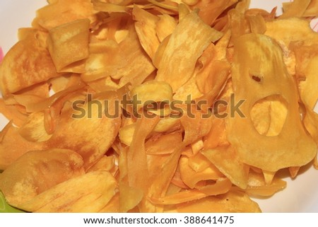 Crispy Jackfruit chip - stock photo