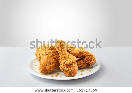 crispy kentucky fried chicken in a white background  - stock photo