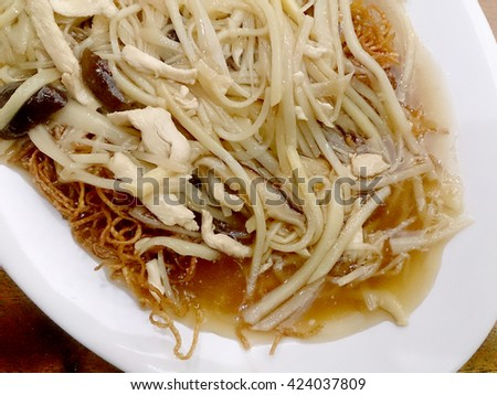 Crispy Noodles in Thick Gravy - stock photo